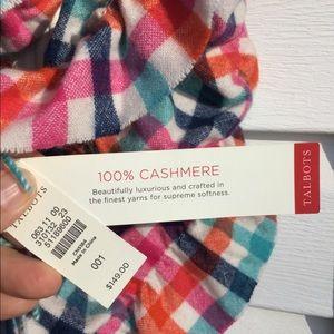 NWT Talbots 100% Cashmere Multicolored RuffleScarf